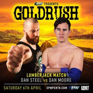 Poster for EPW's Goldrush 2019 showing Dan Steel and Dan Moore