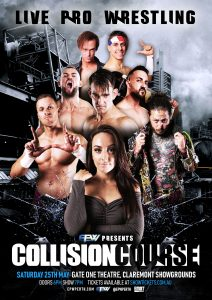 Collision Course 2019 poster featuring Amy, Damian Slater, Gavin McGavin, Marcius Pitt, Alex Kingston, Logan Grey